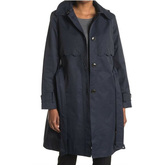 NWT Kate Spade Navy Scalloped Trim Hooded Trench